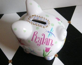 Personalized Piggy Bank Garden Design Size Small Girl's Piggy Bank Hand Painted Flowers