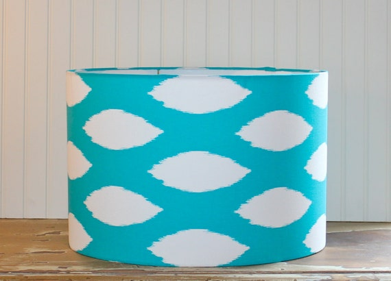 drum lamp shade lampshades turquoise dot ikat. Black Bedroom Furniture Sets. Home Design Ideas
