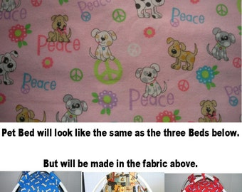 Large Pink Puppy Peace Sign Fabric Pup Tent Pet Bed for cats / dogs / ferrets / piggies / A toy box / Barbie Doll House