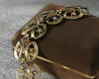 Vintage Coro Bracelet, Topaz AB Rhinestones, White Gold Plating, Minty Condition