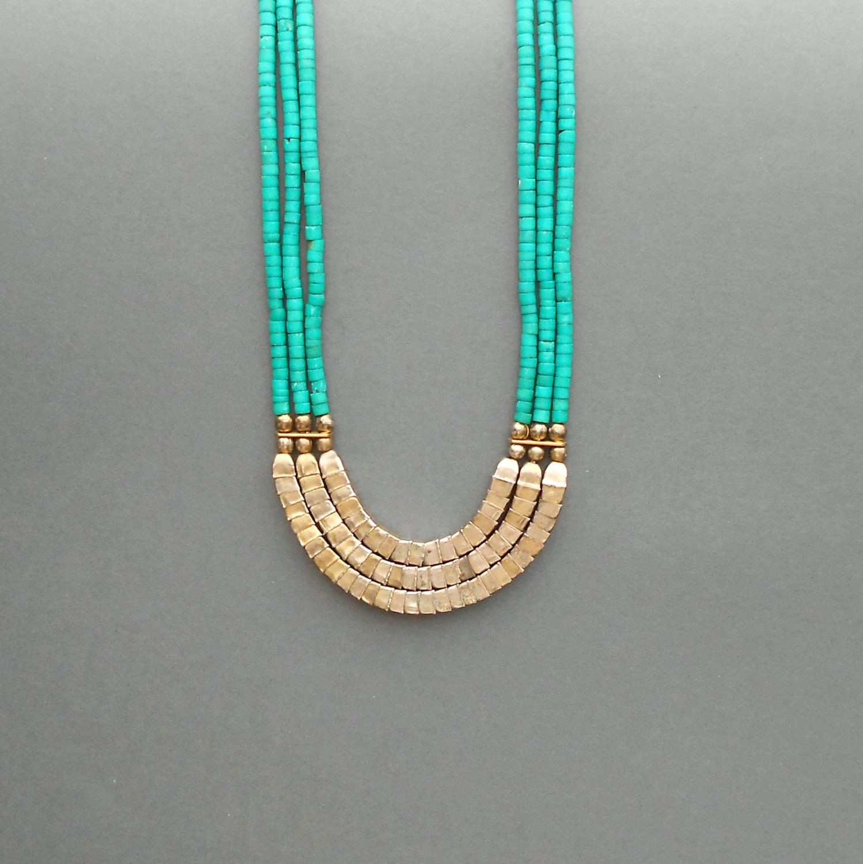 Vintage Bone Necklace Multistrand Tribal Turquoise Egyptian