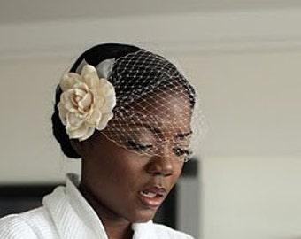 wedding veil, birdcage veil, gardenia veil, gardenia hair clip veil, flower veil, flower fascinator veil, veil sale