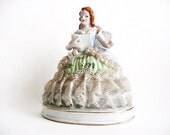 Vintage Porcelain Reading Woman Figurine, Bibliophile Gift, Romantic Home Decor, Red Headed Woman in Preserved Lace Dress, Made in Japan