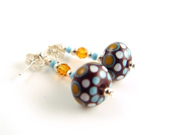 Lampworked Glass Earrings in Brown, Turquoise and Amber