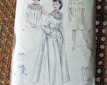 Vintage 1950s. Sewing Pattern, Butterick 6997, Misses' Size 12, Peignoir, Short Night Gown, and BedJacket