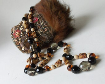 vintage smoke amber ivory and black flapper style necklace