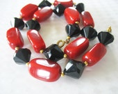 Lucite Beaded Necklace Red Black Faceted Circa 1970 1980's