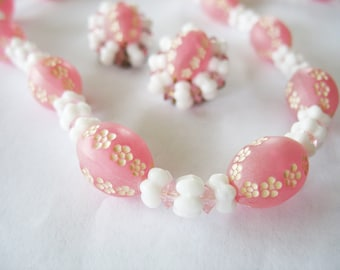 Lucite & Milk Glass Necklace Earrings Pink White Flowers 1950s