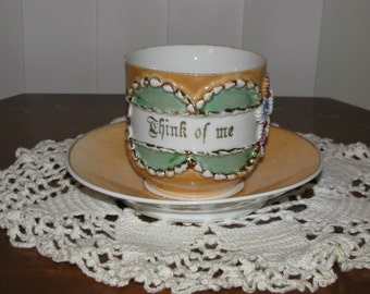 "Vintage ""Think Of Me"" Cup And Saucer Lustre Glaze Flowers"