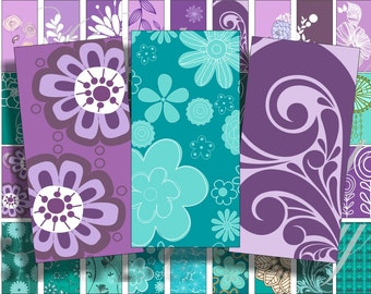 Emerald and purple Domino size 2 x 1 inches for pendant, scrapbook and more - Digital Collage Sheet No.1150