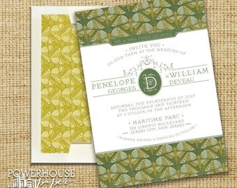 Art Deco Butterfly Wedding Invitation Suite