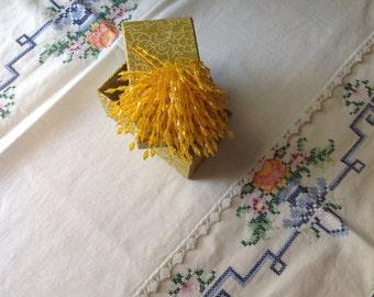 Vintage yellow beaded brooch