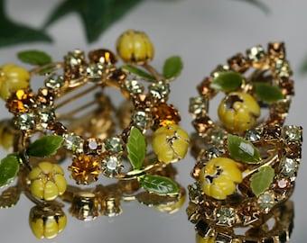 Floral Costume Brooch - Metal Flowers and Rhinestones