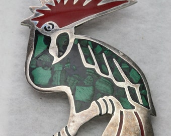 Sterling and Inlaid Stone and Resin Parrot Brooch - Vintage Mexico