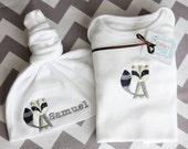 Raccoon Gift Set - One Piece Diaper Shirt and Personalized Knot Hat