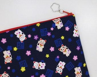 Maneki-neko iPad mini Case/ Zipper Pouch - Indigo Blue