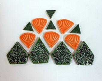 Orange and Green Decorative Mosaic Tiles