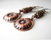 SALE 50 PERC.OFF Sweet rustic copper flower earrings with sterling silver ear wires lightweight bohemian and cute