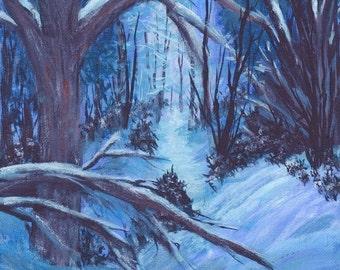 North Carolina Winter Woods Daybreak Original Painting 8x10 Acrylics Blue White Brown