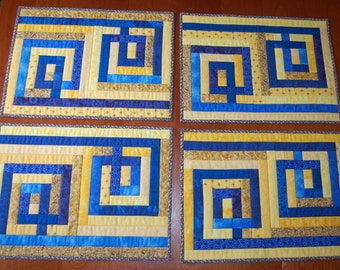 Geometric Blue and Yellow Quilted Placemats Set of 4