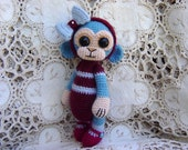 Artist Bear OOAK Crocheted Thread Teddy Monkey Crochet Doll Amigurumi