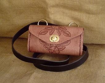 """Handmade Leather """"Lil Weekender"""" Shoulder Purse Floral Antique Brown"""