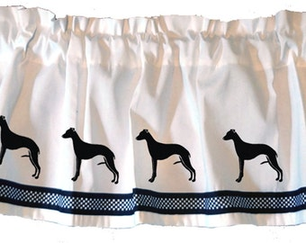 Whippet Greyhound Dog Window Valance in Your Choice of Colors