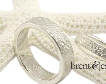 Gift from the Sea Textured Fingerprint Wedding Bands 6mm and 3mm fingerprint wedding rings