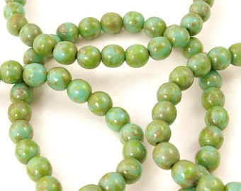 Czech Glass Turquoise Picasso Round Druk Beads 6mm - 30