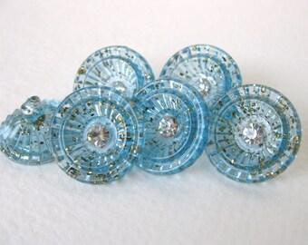 Vintage Rhinestone Buttons BlueTinsel Cup Plastic Shank Austria but0161 (6)