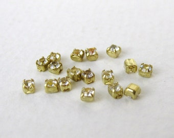 Vintage Swarovski Crystal Rhinestone Brass Setting Tiny No Loop or Ring 2mm swa0346 (24)