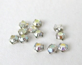 Vintage Bead Swarovski Crystal AB Rose Montees Tiny Sew On 10ss swa0401 (24)