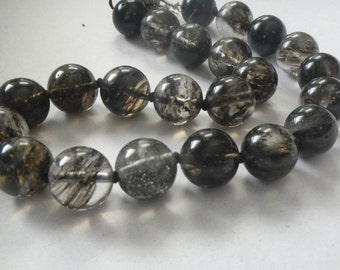 Rutilated Quartz Beaded necklace Black Brown Clear Translucent Dark Gothic Pearl