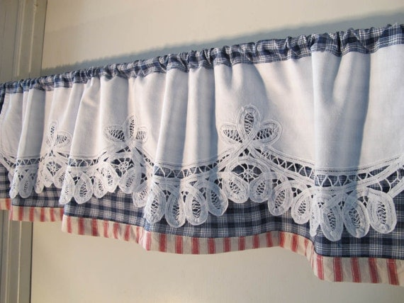 Battenburg Trim Valance Red White Blue Valance Woven Plaid