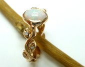 Opal engagement ring.  Opal diamond ring.  14k yellow gold leaf ring with opal.