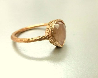 Rose cut sapphire ring.  14k pink gold.  Stacking ring, engagement ring, promise ring.