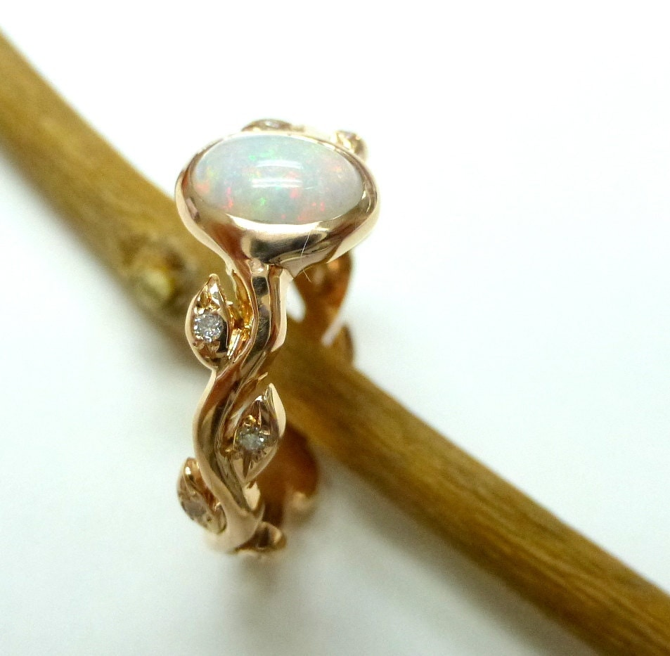 opal engagement ring opal diamond ring 14k yellow gold leaf ring with opal - Opal Wedding Ring