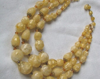 Shades of yellow vintage multi strand bead choker necklace
