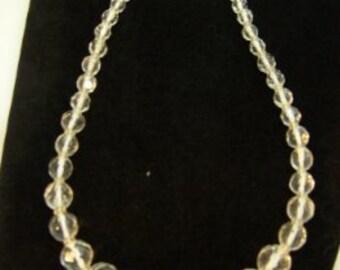 Vintage Multi Faceted Swarovski Crystal Bead Necklace