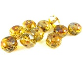 8 - Czech Fire Polished Glass Faceted Rondelle Beads - Clear Crystal with Picasso - 10x6mm - RD106007