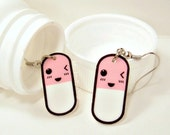 Kawaii Pink Happy Pills Earring Capsules Japanese Emoticons Kaomoji - Pink ONLY