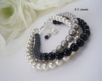 Trio of Pearls for your Bridesmaids- you pick your color