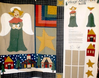 Village Angel Panel- Wall Quilt Fabric Panel by Leslie Beck.