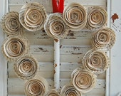 "Valentine Wreath / Heart Wreath /  Vintage Book  Wreath  Paper Roses 9 """