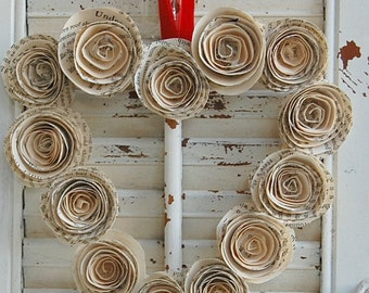 Valentine Wreath / Heart Wreath /  Vintage Book  Wreath  Paper Roses 9 ""