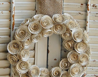 "TWO  13-14 "" Vintage Book Rose Paper Wreaths / Book Lover / Wedding Decor / Book Theme Shower"