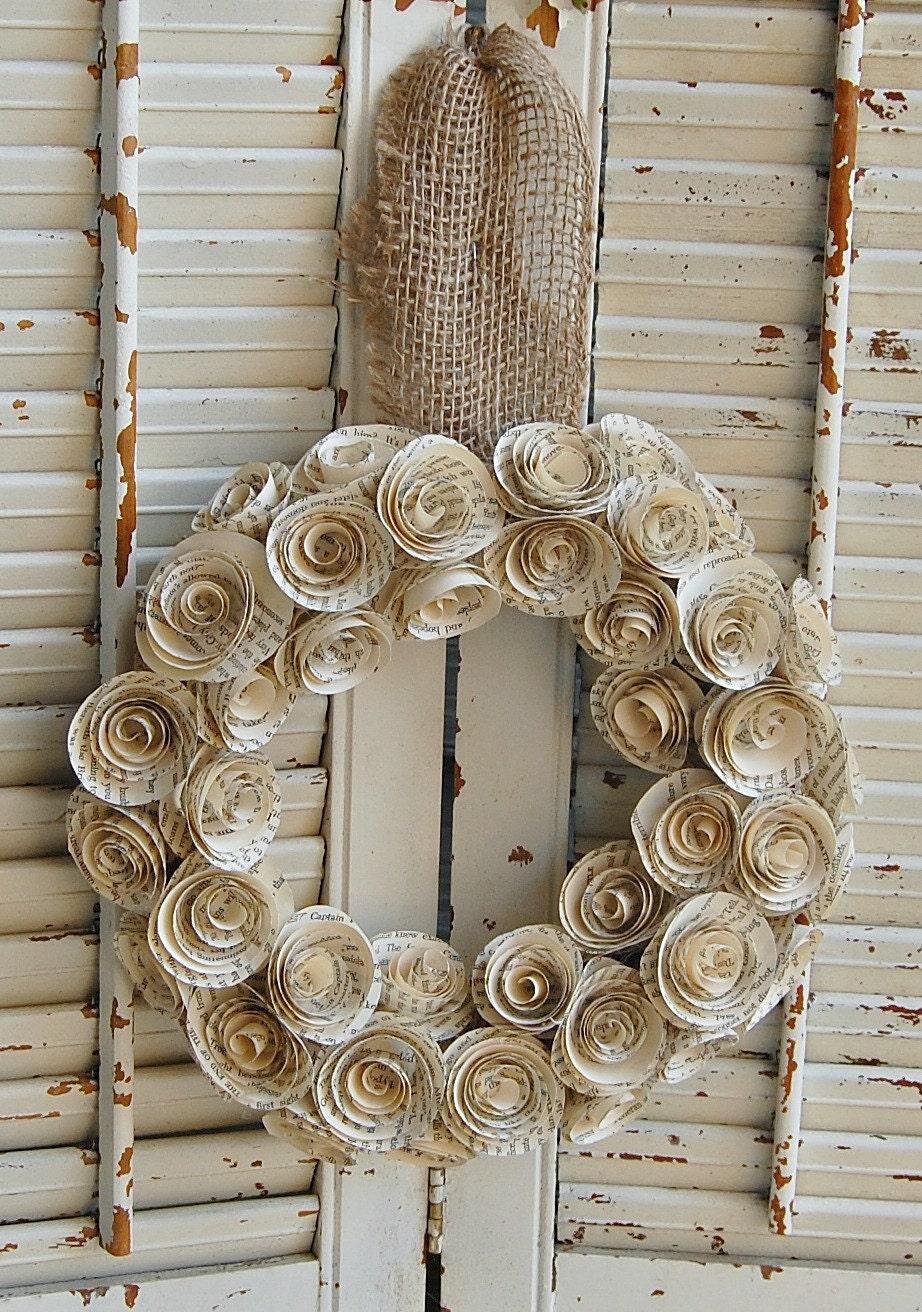 13 14 Book Wreath Paper Rose Wreath Book Theme