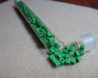 4mm Opaque Green Square Seed Bead (20 Grams) Cube