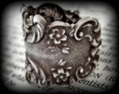 Antiqued Sterling Silver Plated Brass Adjustable Thumb Ring - Large Fingers Ring - Fat Digits - Floral Stamping - Art Nouveau Style