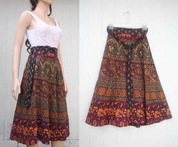 70s Indian Batik Wrap Around Midi Skirt S M